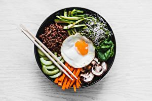 Images Mushrooms Carrots Fried egg Chopsticks Sliced food Plate Microgreen