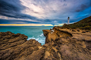 Hintergrundbilder Neuseeland Küste Himmel Leuchtturm Felsen Wolke Castlepoint Lighthouse