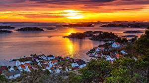 Images Norway Sunrises and sunsets Building Horizon From above Bay Arendal, Austagder Cities