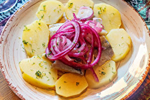 Wallpapers Potato Onion Fish - Food Plate