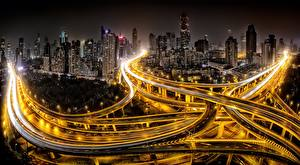 Wallpaper Roads China Shanghai Houses Night Megalopolis Street lights Cities