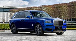 Wallpaper Rolls-Royce Crossover Blue Expensive Metallic Cullinan, ultra-Lux auto