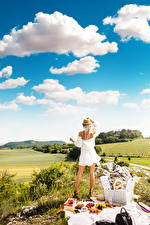 Image Sky Picnic Blonde girl Grass Hat Frock Back view Clouds female