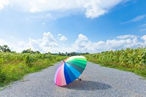 Pictures Sky Parasol Asphalt Rainbow Nature