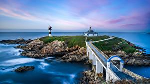 Fotos Spanien Meer Küste Leuchtturm Brücke Insel Isla Pancha Natur