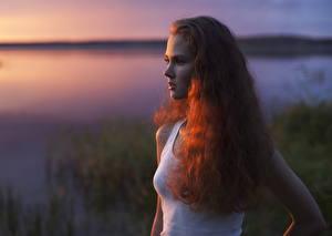 Wallpapers Sunrise and sunset Redhead girl Staring Sleeveless shirt Bokeh Hair Anastasiya Khotenovskaya Girls
