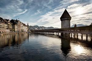 Hintergrundbilder Schweiz Brücken Flusse Haus Türme Kapellbrucke, Luzern Städte