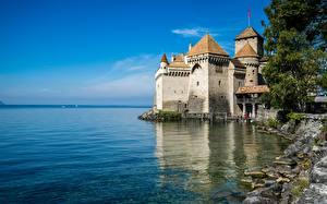 Bilder Schweiz Burg See Himmel Türme Chillon Castle, Lake Geneva