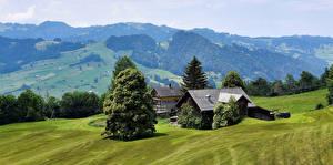 Hintergrundbilder Schweiz Haus Grünland Hügel Bäume Toggenburg Natur