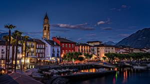 Pictures Switzerland Houses Lake Boats Night time Waterfront Ascona, Lake Maggiore Cities