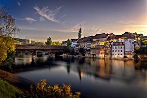 Pictures Switzerland River Houses Bridges Evening Aare River, Olten Cities