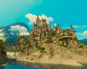 Hintergrundbilder The Witcher 3: Wild Hunt Burg Festung 3D-Grafik
