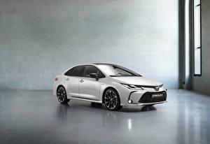 Wallpaper Toyota White Metallic Corolla Hybrid Sedan GR Sport, 2020 Cars