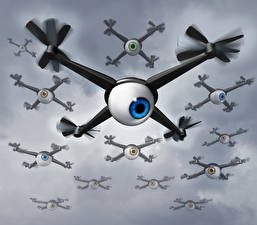 Picture UAV Many Quadcopter Eyes Video camera