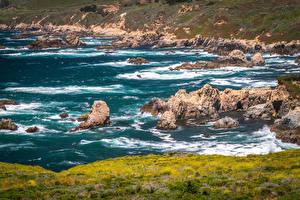 Fotos Vereinigte Staaten Küste Stein Wasserwelle Kalifornien Natur
