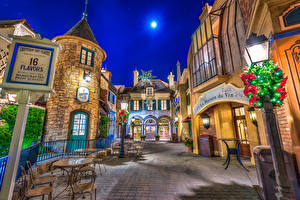 Wallpapers USA Disneyland Parks Houses California Anaheim Design Street Night Street lights Cities