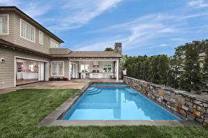Bureaubladachtergronden Amerika Huizen Californië Herenhuis Ontwerp Zwembad Newport Beach een stad