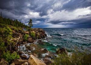 Hintergrundbilder USA See Stein Felsen Bäume Lake Tahoe Natur
