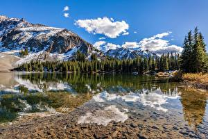 Wallpaper USA Mountain Lake Scenery Trees Reflected Clouds Alta Lakes, Colorado Nature