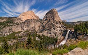 Bilder Vereinigte Staaten Berg Parks Kalifornien Yosemite Felsen Bäume Natur