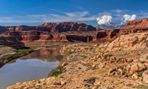 Bilder Vereinigte Staaten Flusse Felsen Canyon Wolke Colorado River, White Canyon, Utah Natur
