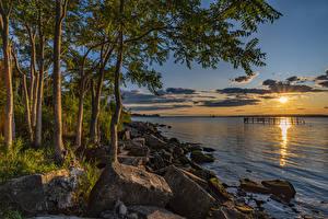 Hintergrundbilder Vereinigte Staaten Sonnenaufgänge und Sonnenuntergänge Küste Steine Bucht Sonne Bäume Brooklyn Natur
