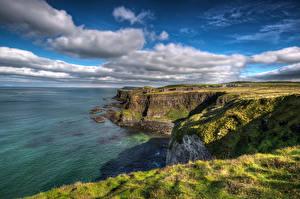Bilder Vereinigtes Königreich Küste Himmel Felsen Wolke Antrim, Northern Ireland Natur