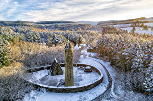 Photo United Kingdom Forests Park Trees Snow Tower Made of stone Gortin, Northern Ireland Nature