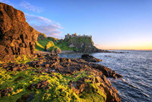 Pictures United Kingdom Sea Coast Stones Castles Ruins Crag HDRI Antrim, Northern Ireland, Dunluce Castle Nature