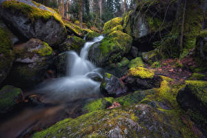 Wallpapers Waterfalls Stone Moss Streams Nature