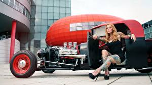 Picture Blonde girl Tattoos Hands Sitting Legs High heels hot rod female Cars
