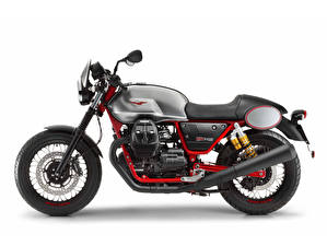 Picture White background Side 2017-20 Moto Guzzi V7 III Racer motorcycle