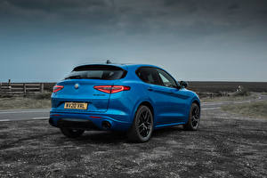 Wallpapers Alfa Romeo Crossover Blue Metallic Back view Stelvio Veloce UK-spec, 949, 2020 auto