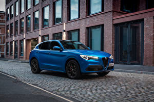 Обои Alfa Romeo Синий Металлик Кроссовер Stelvio Veloce UK-spec, 949, 2020 Автомобили картинки