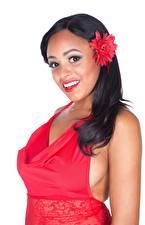 Hintergrundbilder Weißer hintergrund Brünette Starren Lächeln Anya Ivy