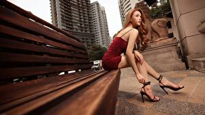 Desktop wallpapers Asian Bench Brown haired Gown Hands Legs Stilettos Sitting female
