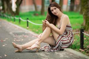Bakgrundsbilder på skrivbordet Asiatisk Bokeh Brunhårig tjej Klänning Sitter Hand Ben Dam klackar Unga_kvinnor