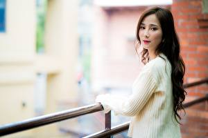 Wallpaper Asiatic Brown haired Staring Bokeh Sweater Fence female