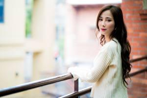 Bakgrunnsbilder Asiatisk Brunt hår kvinne Ser Bokeh Gensere Gjerder Unge_kvinner