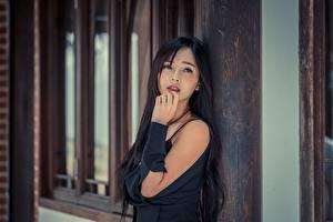 Hintergrundbilder Asiatisches Brünette Starren Hand Unscharfer Hintergrund Mädchens