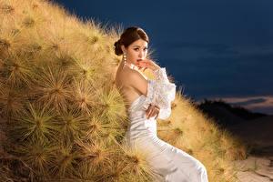 Hintergrundbilder Asiaten Kleid Starren Mädchens