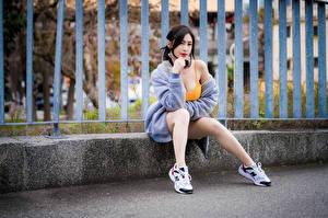 Fotos Asiaten Zaun Sitzend Bein Starren junge frau