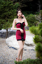 Images Asian Posing Gown Legs young woman