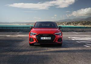 デスクトップの壁紙、、アウディ、赤、メタリック塗、正面図、S3 Sedan, 2020、自動車