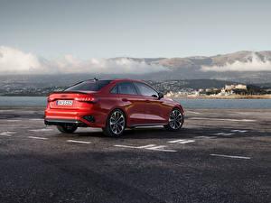 Обои Audi Красный Металлик Сбоку S3 Sedan, 2020 Автомобили картинки