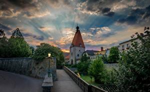 Hintergrundbilder Österreich Wolke Turm Freistadt