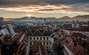 Photo Austria Houses Mountains Sunrise and sunset Graz Cities