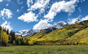 Desktop hintergrundbilder Herbst Berg Wald Grünland USA Aspen, Colorado Natur