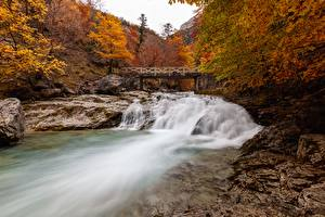 Picture Autumn Rivers Bridge Stone Park Spain province Huesca, River, Ordesa national Park and Monte Perdido Nature