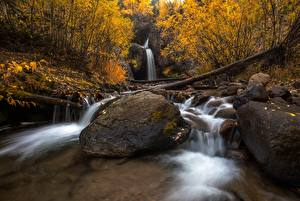 Pictures Autumn Stones Waterfalls Leaf Nature